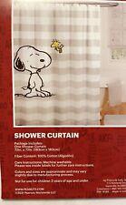 "Peanuts Fabric Shower Curtain Snoopy Woodstock Stripe 100% Cotton 72""×72"" New"