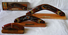 "Boxed Boomerang - Classic Traditional Hand-Painted 14"" with Display Stand"