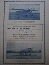 8-10/1926 PUB SIMB AVIONS BERNARD AVION HYDRAVION CHASSE TOURISME COURSE AD