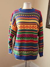 Vtg 90s Rainbow Striped Knit Sweater Sz M / L Retro Yellow Blue Hipster Club Kid