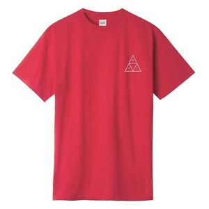 HUF HOLOGRAM TRIPLE TRIANGLE LOGO TEE SHIRT ROSE WOOD RED