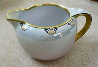 Vintage RS Prussia Tillowitz Silesia Large Porcelain Pitcher Gold Trim