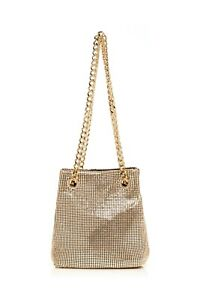 RIXO olive Gold mini drawstring bag chainmail chain strap With dust bag New