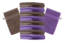 Betz lot de 10 gants de toilette Premium: violet & marron noisette, 16 x 21 cm