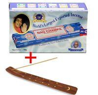 Satya Sai Baba NAG CHAMPA Incense Sticks Box x 12 Packs Agarbathi FREE Holder
