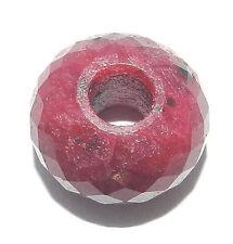 Ruby Corundum gemstone roundel facet big hole beads for bracelet, charm ER538