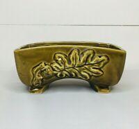 Vintage Olive Green Planter Ceramic Pottery Rectangle