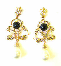 Black Gold Ivory White Pearl Chandelier Earrings Drop Stud 1920s Flapper 1131