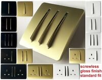 Light Switches Main Sockets Gloss black Gold White Wall Plug Screwless Gang new