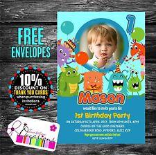 Personnalisé anniversaire Invitations Fête Monstres idéal 1st Anniversaire X 5