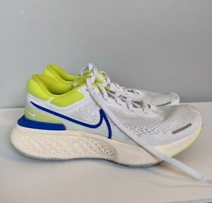 Nike ZoomX Invincible Run FK Flyknit White Blue Yellow CT2228-101 Men's 10.5