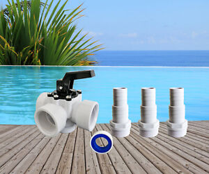 PoolSun 3 Wege Ventil Pool Schwimmbad Adapter Pumpe Poolheizung 32mm 38mm