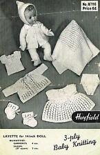 "Dolls clothes knitting pattern 14"" & 16"" Baby doll. Laminated copy. (V Doll 59)"