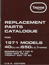 1971 Triumph T120, OIF, Bonneville, Tiger, Trophy, OEM, NEW, PARTS CATALOGUE