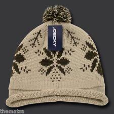 STONE  SNOWFLAKE ROLL UP POM POM BEANIE  HAT CAP