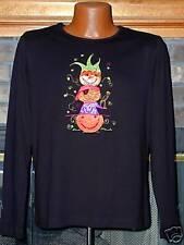 HALLOWEEN Top w/ Applique Pumpkins+beads NWT LrG
