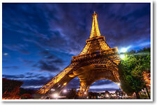 Eiffel Tower Paris France - European Travel Night Sky - NEW POSTER