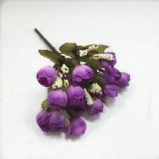 Artificial Silk Rose Stems- 15 Head Roses with 23cm Stem Flowers Plant Garden