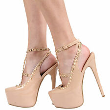 NEW WOMENS LADIES PLATFORM HIGH HEEL STUDDED ANKLE STRAP PARTY SHOES SIZE 3-8