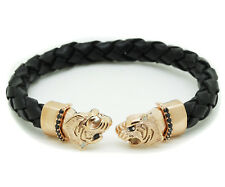 Mens Black Leather Rose Plated Stainless Steel Panther Bracelet Bangle CZ