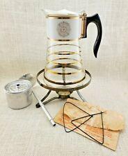 David Douglas Flameware Gold & White Coffee Carafe Perk'N Serve and Warmer