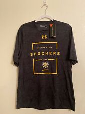 Large Under Armour Wichita State Black T Shirt Short Sleeve Heat Gear Nwt