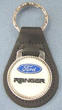 Vintage White Ford RANGER Black Leather USA Keyring Key Fob Key Holder
