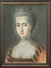 18th Century Portrait of a Young Lady Antique Pastel Painting
