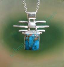 Pendant Turquoise Blue Holy Stone of the Native American Copper Pearl Silver 925