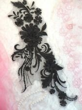 "Embroidered 3D Applique Black Floral Sequin Patch 13"" (DH72)"