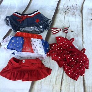 Build A Bear Outfit Lot Patriotic 4th of July Skirts Tutu Tank Top Bow 5 Piece