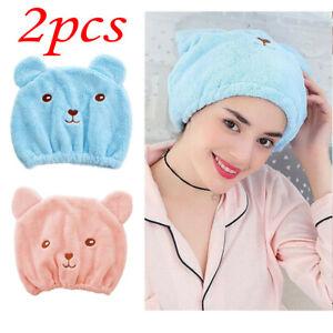 2PCS Microfiber Towel Quick Dry Hair Magic Drying Turban Wrap Hat Cap Bathing