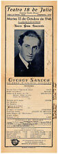 GYORGY SANDOR HUNGARIAN PIANIST 1946 SIGNED PHOTO POSTER MONTEVIDEO URUGUAY
