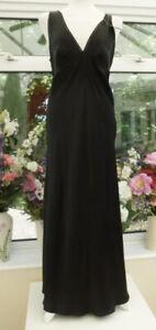 M&S Autograph Sexy Black Floaty 100% PURE SILK Long Nightdress Size 14 Side Slit