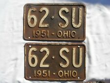 Pair 1951 Ohio License Plate Tag