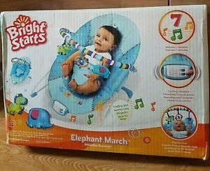 Bright Starts Elephant March Baby Melodies Bouncer Soothing Vibrations New w/Box
