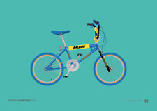 Raleigh Burner – blue – Old School BMX A4 Print – Retro gift