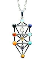 More details for gemstone kabbalah tree of life pendant sefirot chakra natural gem chain necklace