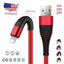 USA 1/2/3M Braided Lightning USB Fast Charger Data Cable For iPhone X 8 7 6S Lot