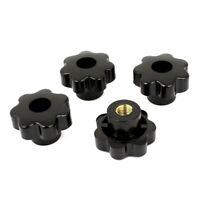 Black Replacement M12 x 50mm Female Threaded Knurled Clamping Knob 4 Pcs