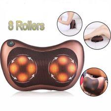 8 Head Massager Heat Massage Pillow Shiatsu Knead Relax Neck Back Shoulder Pain