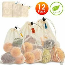 Reusable Produce Bags Cotton Mesh Bags with Tare Weight Tags Organic