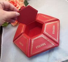 Red vinyl compartment storage box. Stamps, clips, keys, MORE...