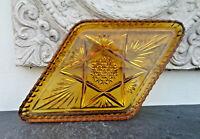 Art Déco Tablett engl Pressglas antik Amber Obstschale Käse Platte Petit Fours