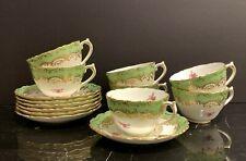 Antique Coalport 1891-1920 Mark Masterpiece Pattern Cups and Saucers Set of 7