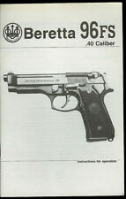 1992 Beretta Model 96FS .40 Cal Semi-Auto Pistols Vintage Factory Owner's Manual