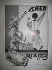 PUBLICITE DE PRESSE CHOCOLAT MENIER RIALTA AU LAIT DESSIN EDIA FRENCH AD 1932