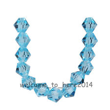 200pcs Aque Blue Glass Crystal Faceted Bicone Beads 4mm Spacer Jewelry Findings
