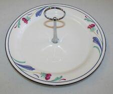 "Lenox Chinastone Tidbit Pastry Tray Poppies on Blue Handle Large 11"" EUC"