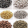 4/5/6mm Metal Round Ball Brass Loose Spacer Beads Jewelry Findings DIY Crafts